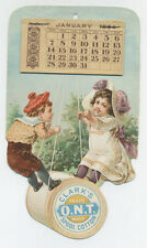 Clarks Thread 1894 large trade card with full calendar pad - kids on spool swing