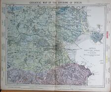 1883  LARGE ANTIQUE MAP GEOLOGICAL MAP, ENVIRONS OF DUBLIN