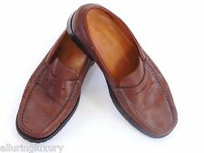 DOONEY & BOURKE Brown Leather Penny Loafers, Rubber Tread Made in Italy, Sz. 43