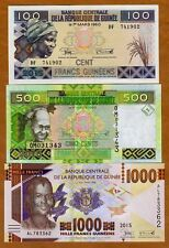 SET Guinea, 100;500;1000 francs, 2015 (2016), Pick New, UNC   Redesigned