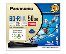 10 Panasonic BD-R DL 50GB 2X Speed Inkjet Printable Blu ray Discs Made in Japan