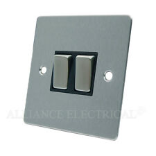 Brushed Matt Satin Chrome Flat 2 Gang Light Switch - 10 Amp Double 2G 2 Way