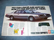 "1983 Dodge Challenger Plymouth Sapporo Vintage Ad ""Our Imports vs. Theirs"""