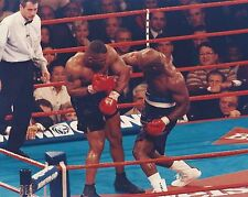 EVANDER HOLYFIELD vs MIKE TYSON 8X10 PHOTO BOXING PICTURE CENTER OF RING ACTION