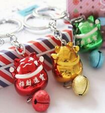 Lucky Cat Japanese Fengshui Bell Cats Keyring Keychain Key Ring Chain Gift 1pc