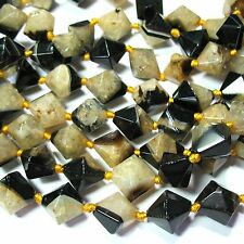 "Black & Yellow Agate 16mm Bicone Nugget Beads 16"" 2mm Hole ""Septarian"" Look"
