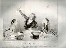 Daumier:Robert Macaire Professeur de Français.Gravure Lithographie Charivari