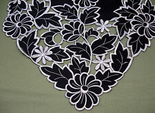 "New Black Silver Leaf Daisy  Embroidered Table Runner Cutwork 225cm 88""  M418L"