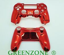 Red Chrome Custom Replacement PS4 Controller Hydro Dipped Shell Mod Kit