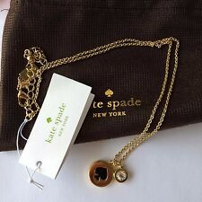 New Kate Spade Spot the Spade Charm Necklace ~  gold/Black O0RU1338