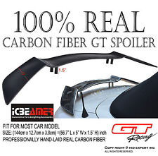 "JDM Universal 57"" Real Carbon Fiber GT Rear Trunk Spoiler Wing [Racing Style] H1"