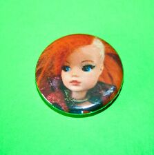 ORANGE HAIR SINDY DOLL PUNK ROCK GOTH BUTTON PIN BADGE
