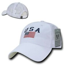American USA US Flag Patch United States America Polo Trucker Baseball Hat Cap