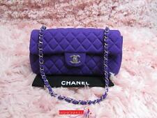 Auth CHANEL Purple Jersey East West Flap Bag Silver HW