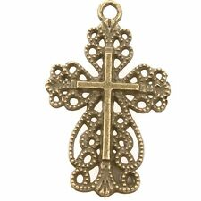 30pcs Antique Bronze Hollow Flower Cross Charms Alloy Pendant Handmade J