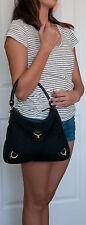 Rare GUCCI Shoulder Satchel Handbag GG Monogram Canvas Black Italy 130738 186628