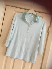 Marks And Spencer Size 12 Pale Green Top Sequin Collar