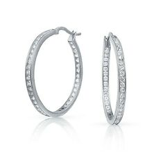 """1.6"""" Inside Out Brilliant Round Diamonique CZ Hoop Earrings Anti Tarnish Silver"""