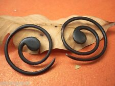 Tribal Handmade Brown Wooden Nepali BIG Round Spiral Fake Wood Earring WER048