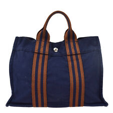 Authentic HERMES Logos Fourre Tout PM Hand Tote Bag Canvas Navy Blue 08A470