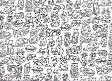 Fat Quarter - Black and White Cats Cotton Fabric