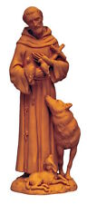 Saint Francis With Wolf Unique Italian Terra Cotta Figure  St. Of Animals  Peace