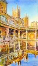 "NEW ORIGINAL ALAN REED ""Bath Abbey and Roman Baths"" Gothic  Watercolour PAINTING"