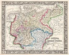 MAP ANTIQUE MITCHELL 1860 PRUSSIA GERMAN STATES REPLICA POSTER PRINT PAM1138