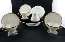 """EDELSTEIN BAVARIA GEOMETRIC BLACK AND GOLD TRIM 8 PIECE 2 3/8"""" CUP & SAUCER SETS"""
