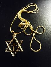 Gold plated Jewish star of David with cross messianic necklace Israel pendant