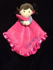 Carters Love You Girl Pink Security Blanket Brown Hair Satin Blue Stripe Baby