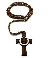 "VERITAS  AEQUITAS  WOODEN ROSARY PENDANT w/ 5mm 39"" Wooden Beads Necklace XJ199"