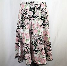 Dressbarn Floral Skirt Sz 10 Black Pink White Green Lace Trim Stretch Cotton