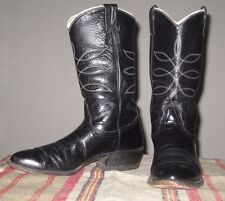 Vintage NOCONA Black White Piping Cowboy Dress Boots Men's Size 9.5 Made in USA