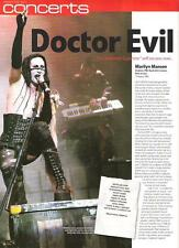 MARILYN MANSON Doctor Evil New Jersey concert review 2001 UK ARTICLE / clipping