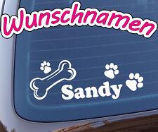 Hunde Aufkleber Pfoten Knochen Hundenamen - Wunschtext - Auto Hundeaufkleber