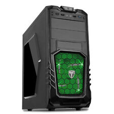 AvP STORM 27 BLACK ATX GAMING TOWER CASE USB 3.0 GREEN LED FAN FRONT AUDIO & MIC