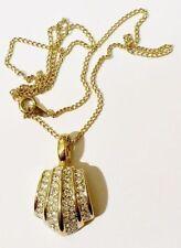 Bijou Vintage pendentif chaine rétro cristaux diamant relief couleur or * 3458