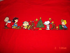 Womens Peanuts Snoopy-Woodstock-Lucy-Charlie Brown-Sally-Christmas-Red-Shirt-M