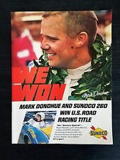 Vintage 1969 Sunoco Gas & Oil Mark Donohue U.S. Road Racing Title Full Page Ad