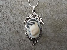 GORGEOUS CAT CAMEO NECKLACE PENDANT (cream/black) 925 PLATE CHAIN- QUALITY!!!