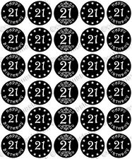 30 x HAPPY 21st BIRTHDAY Edible Wafer Paper Cupcake Toppers BLACK RED PINK BLUE