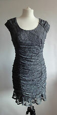 P241/10 AngelEye Woman's Sexy Bodycon Lace Greenish Grey Dress, size S, UK 8/10