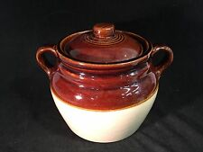 Western Stoneware 0606 Covered Handled Crock Two Toned Brown/Beige