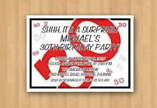 30th Adult Birthday Party Personalized Invitation Any COLOR & AGE 21st 40th 50th