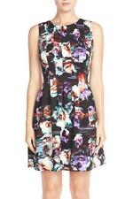 VINCE CAMUTO Floral Pleated Scuba Fit & Flare Dress 10P NWT Womans (MSRP ($128)