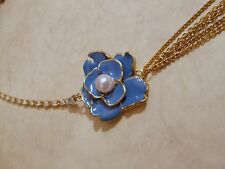 """UNIQUE GOLDTONE CASCADING CHAINS TEAL FLOWER PEARL PENDANT 34"""" NEW FREE PRIORITY"""