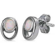 Oval Shape White Opal .925 Sterling Silver Earring