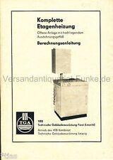 VEB Techn. Gebäudeausrüstung Forst   Etagenheizung Berechnungsanleitung DDR 1984