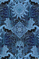 Indigo Weed Elevated By the yard Alexander Henry cotton fabric Large scale